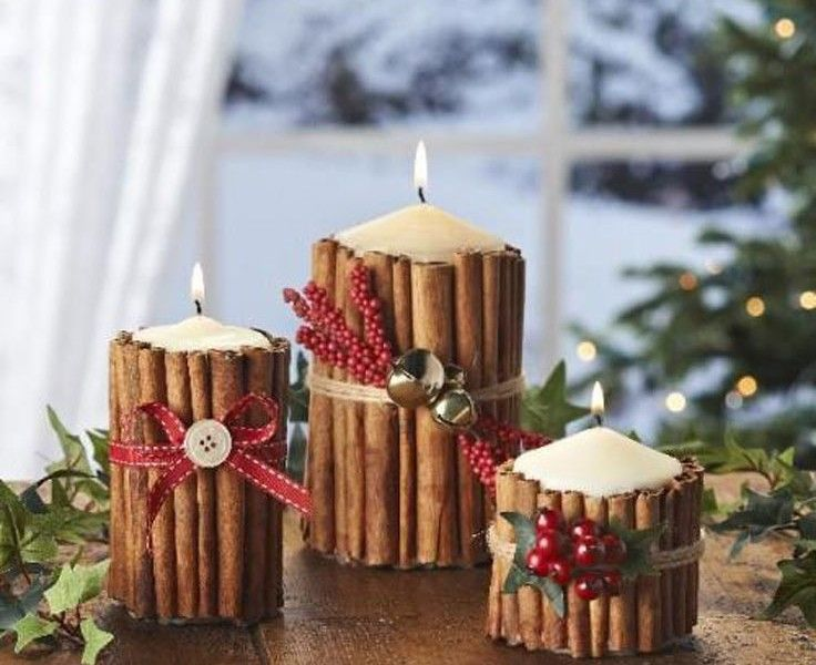 シナモンスティックで作る可愛いクリスマスキャンドルホルダー